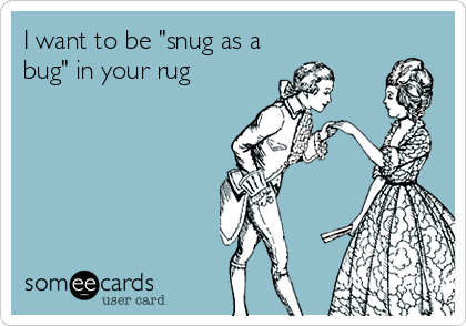 """I want to be """"snug as a bug"""" in your rug"""