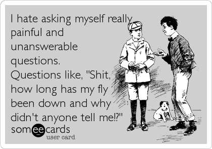 "I hate asking myself really painful and unanswerable questions. Questions like, ""Shit, how long has my fly been down and why didn't anyone tell me!?"""