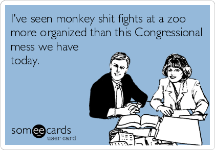 I've seen monkey shit fights at a zoo more organized than this Congressional mess we have today.