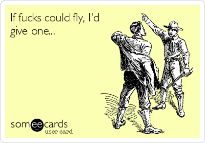 If fucks could fly, I'd give one...