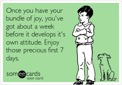 Once you have your bundle of joy, you've got about a week before it develops it's own attitude. Enjoy those precious first 7 days.