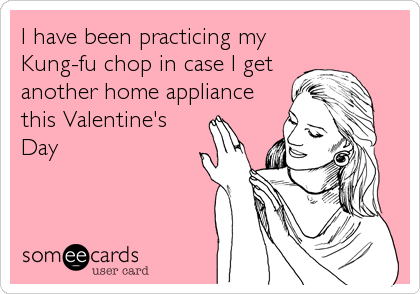I have been practicing my Kung-fu chop in case I get another home appliance this Valentine's Day