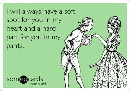 I will always have a soft spot for you in my heart and a hard part for you in my pants.