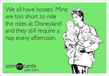 We all have bosses. Mine are too short to ride the rides at Disneyland and they still require a nap every afternoon.