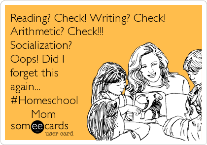 Reading? Check! Writing? Check! Arithmetic? Check!!! Socialization?  Oops! Did I forget this again... #Homeschool       Mom