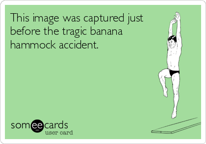 This image was captured just before the tragic banana hammock accident.