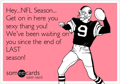 Hey...NFL Season... Get on in here you sexy thang you!  We've been waiting on  you since the end of LAST  season!