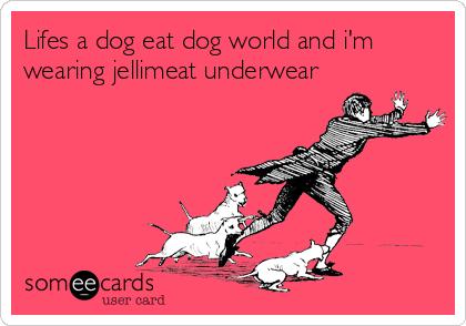 Lifes a dog eat dog world and i'm wearing jellimeat underwear