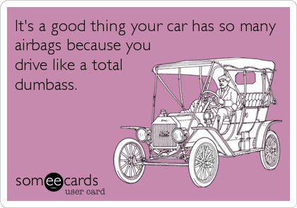 It's a good thing your car has so many airbags because you drive like a total dumbass.