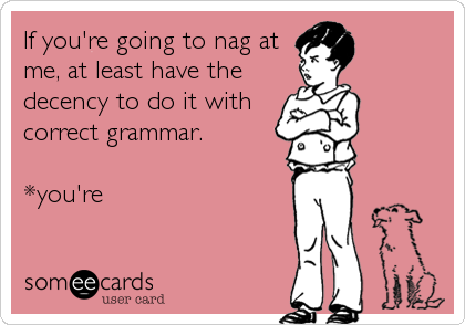 If you're going to nag at me, at least have the decency to do it with correct grammar.  *you're