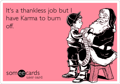 It's a thankless job but I                      have Karma to burn                           off.