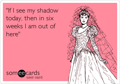 """If I see my shadow today, then in six weeks I am out of here"""