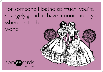For someone I loathe so much, you're strangely good to have around on days when I hate the world.