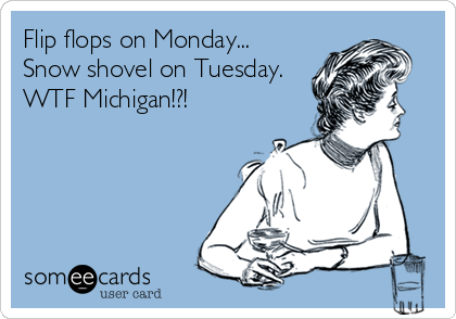 Flip flops on Monday... Snow shovel on Tuesday. WTF Michigan!?!