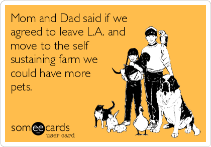 Mom and Dad said if we agreed to leave L.A. and move to the self sustaining farm we could have more  pets.