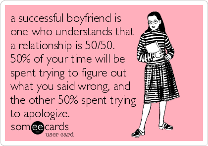 a successful boyfriend is one who understands that a relationship is 50/50.  50% of your time will be spent trying to figure out what you said wrong, and the other 50% spent trying to apologize.