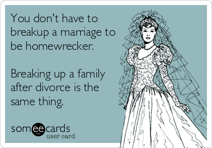 You don't have to breakup a marriage to be homewrecker.   Breaking up a family after divorce is the same thing.