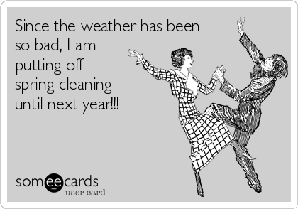 Since the weather has been  so bad, I am putting off spring cleaning  until next year!!!
