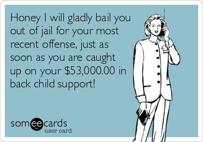 Honey I will gladly bail you out of jail for your most recent offense, just as soon as you are caught up on your $53,000.00 in back child support!