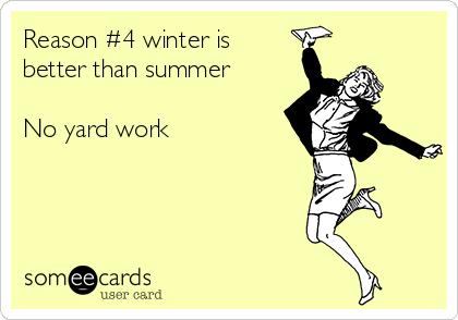 Reason #4 winter is better than summer  No yard work