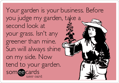 Your garden is your business. Before you judge my garden, take a second look at your grass. Isn't any greener than mine. Sun will always shine on my side. Now tend to your garden.