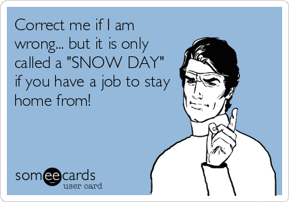 """Correct me if I am wrong... but it is only called a """"SNOW DAY"""" if you have a job to stay home from!"""