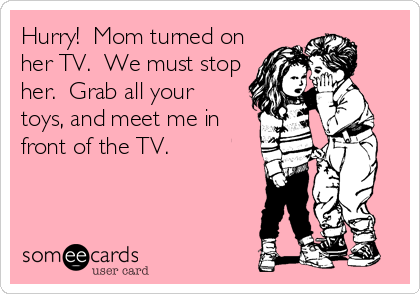 Hurry!  Mom turned on her TV.  We must stop her.  Grab all your  toys, and meet me in front of the TV.