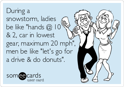 """During a snowstorm, ladies be like """"hands @ 10 & 2, car in lowest gear, maximum 20 mph"""", men be like """"let's go for a drive & do donuts""""."""