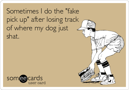 """Sometimes I do the """"fake pick up"""" after losing track of where my dog just shat."""