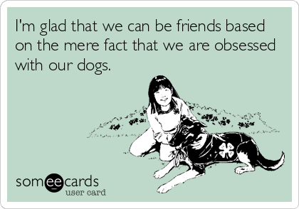 I'm glad that we can be friends based on the mere fact that we are obsessed with our dogs.