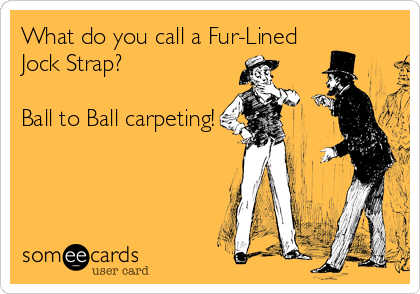 What do you call a Fur-Lined Jock Strap?  Ball to Ball carpeting!