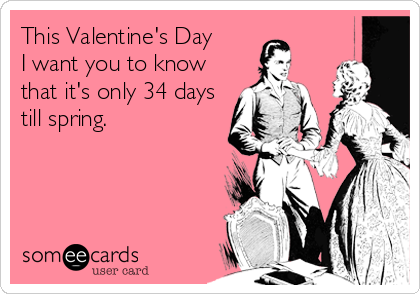 This Valentine's Day  I want you to know that it's only 34 days till spring.