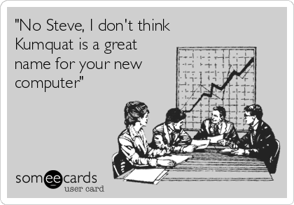 """""""No Steve, I don't think Kumquat is a great  name for your new  computer"""""""