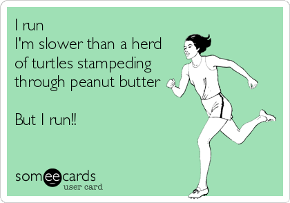 I run I'm slower than a herd of turtles stampeding through peanut butter  But I run!!