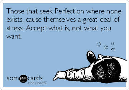 Those that seek Perfection where none exists, cause themselves a great deal of stress. Accept what is, not what you want.