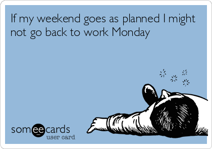 If my weekend goes as planned I might not go back to work Monday