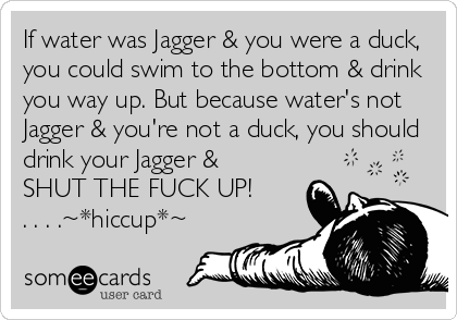 If water was Jagger & you were a duck, you could swim to the bottom & drink you way up. But because water's not Jagger & you're not a duck, you should drink your Jagger &  SHUT THE FUCK UP! . . . .~*hiccup*~
