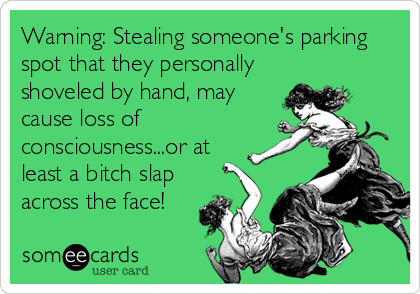 Warning: Stealing someone's parking spot that they personally shoveled by hand, may cause loss of consciousness...or at least a bitch slap across the face!