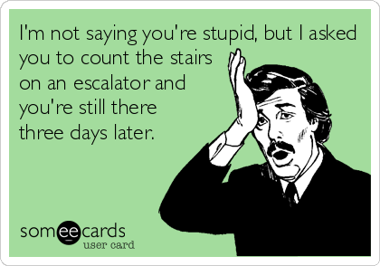 I'm not saying you're stupid, but I asked you to count the stairs on an escalator and you're still there three days later.