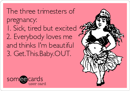 The three trimesters of  pregnancy: 1. Sick, tired but excited 2. Everybody loves me and thinks I'm beautiful 3. Get.This.Baby.OUT.