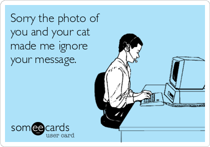 Sorry the photo of you and your cat made me ignore your message.