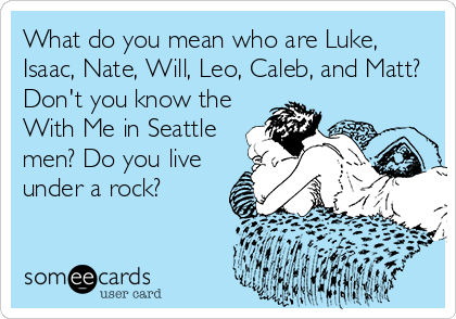 What do you mean who are Luke, Isaac, Nate, Will, Leo, Caleb, and Matt? Don't you know the With Me in Seattle men? Do you live under a rock?