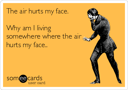 The air hurts my face.   Why am I living somewhere where the air hurts my face..