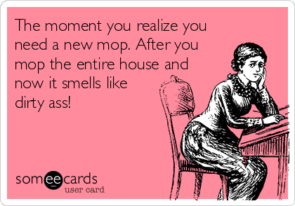 The moment you realize you need a new mop. After you mop the entire house and now it smells like dirty ass!