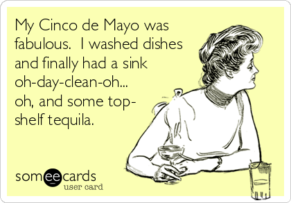 My Cinco de Mayo was fabulous.  I washed dishes and finally had a sink oh-day-clean-oh... oh, and some top- shelf tequila.