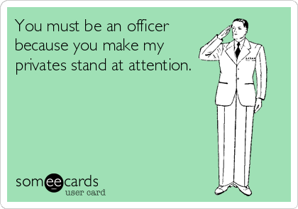 You must be an officer because you make my privates stand at attention.