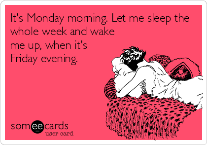 It's Monday morning. Let me sleep the whole week and wake me up, when it's Friday evening.