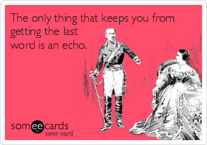 The only thing that keeps you from getting the last word is an echo.