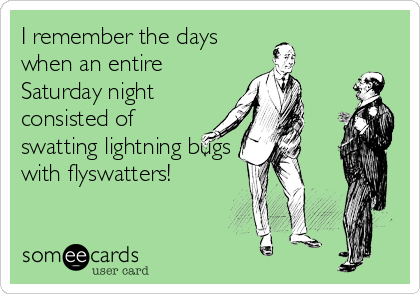 I remember the days when an entire Saturday night consisted of swatting lightning bugs with flyswatters!