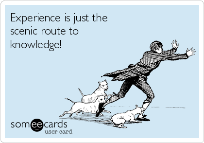 Experience is just the scenic route to  knowledge!